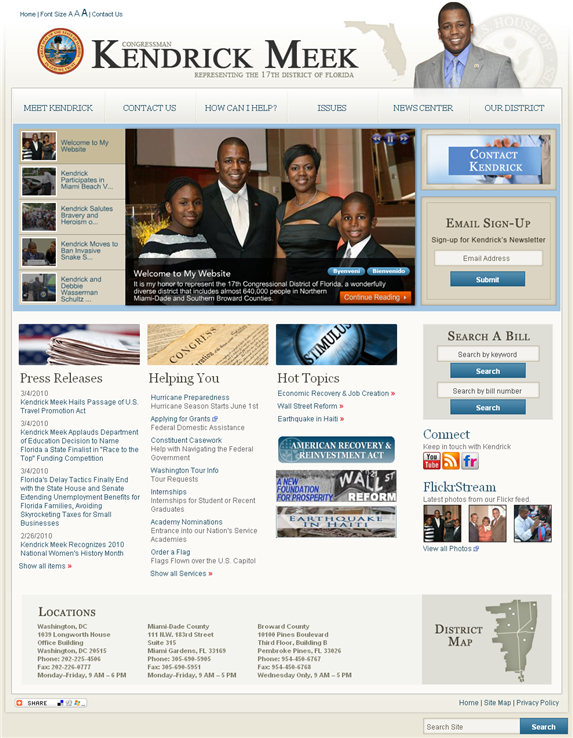Web site screen shot of Rep. Kendrick Meeks' new redesign.