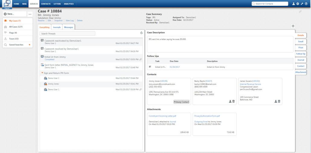Casework Detail Screen